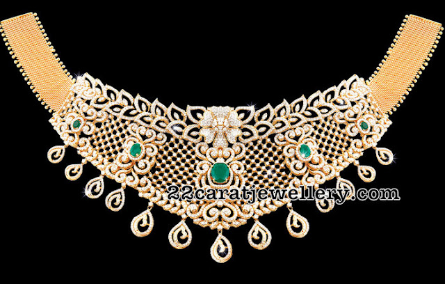 Diamond Choker with Emeralds 180 Grams