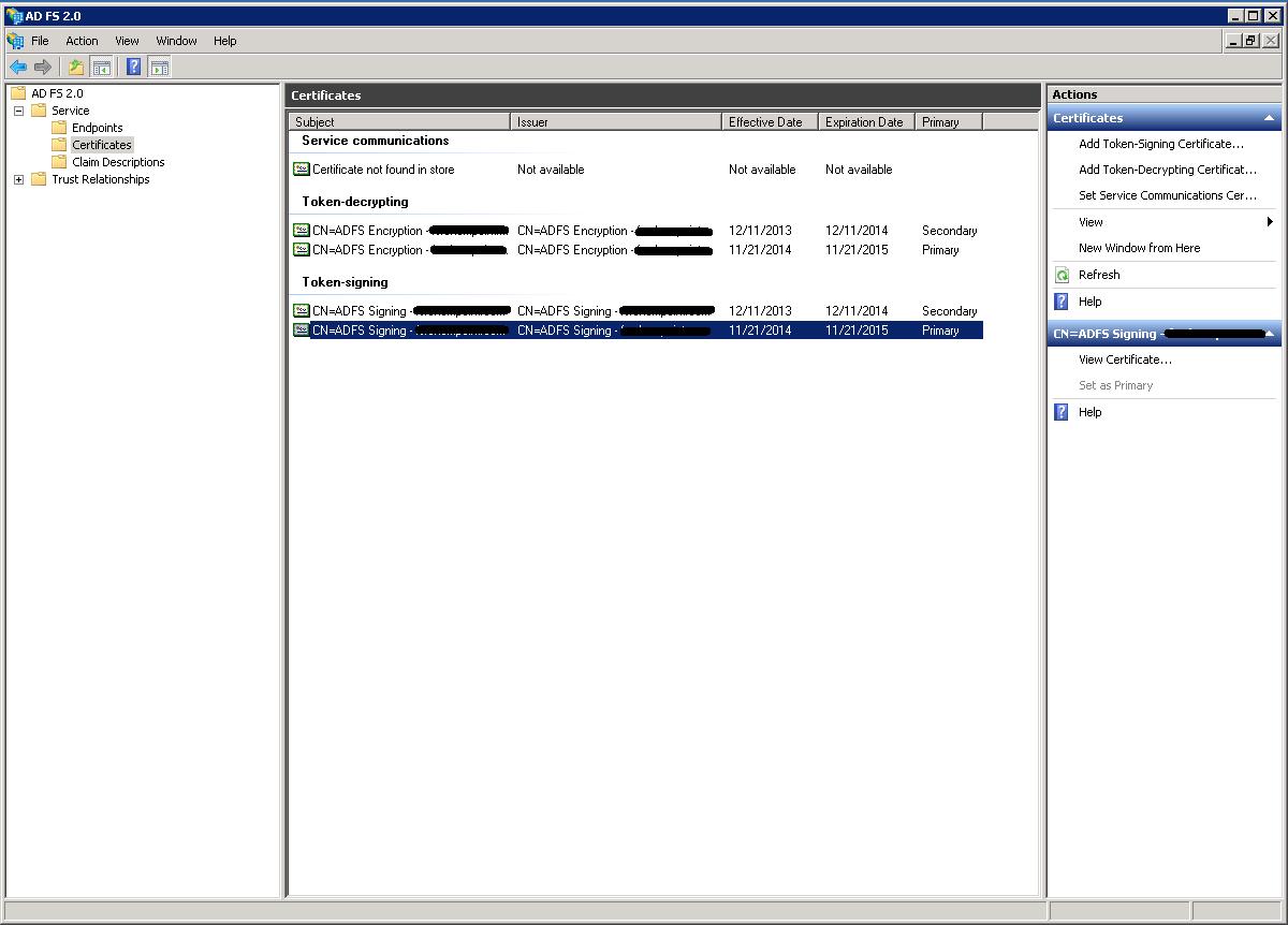 Blaughw Tech: Yammer SSO gotcha - ADFS certificate autorenewal
