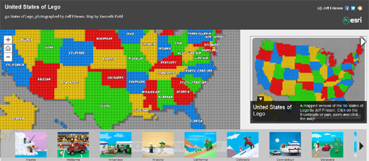 Maps Mania  The United Maps of Lego The United States of Lego is a map of the U S  created from the world s  favorite colored building bricks  The map includes 50 Lego dioramas  each  depicting