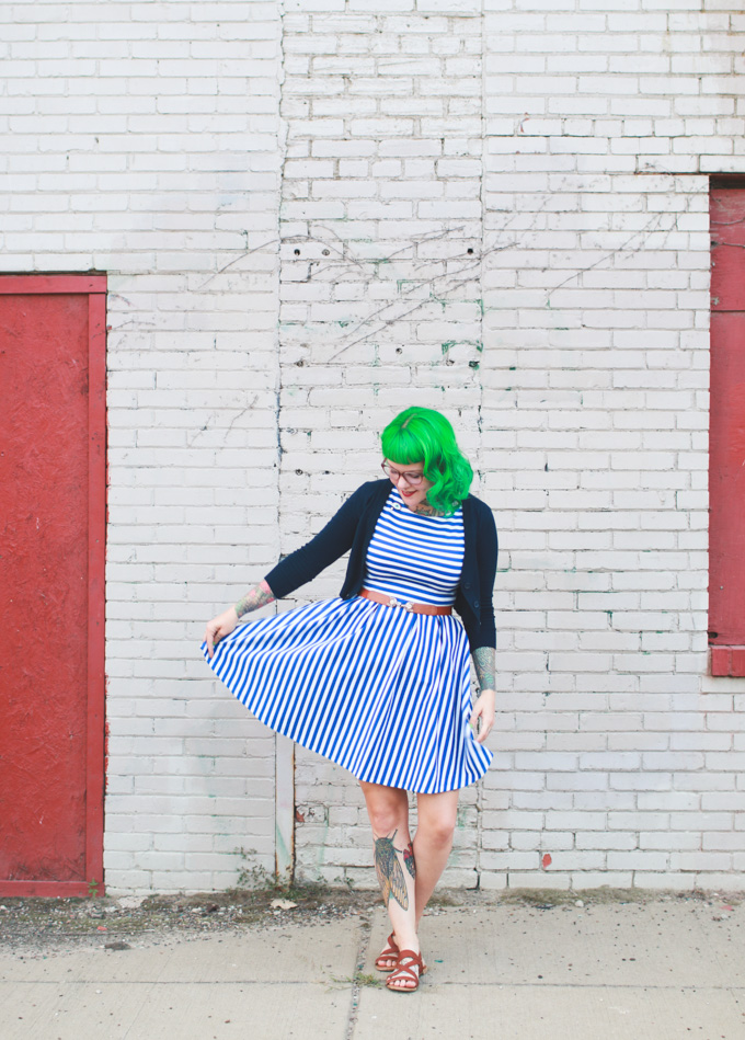 blue and white striped dress, green hair, modcloth
