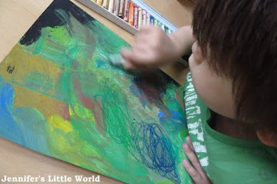 Child doing artwork inspired by Soutine