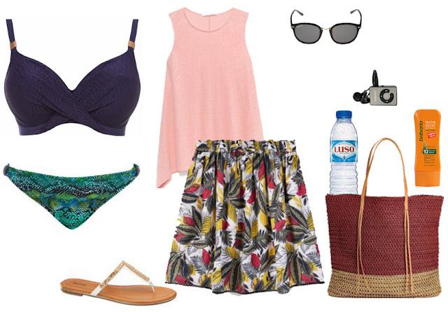 Bikini top azul escuro, cueca padrão animal colorido, saia evasé colorida, top rosa claro, mala palha castanho e bordeaux, sandálias brancas rasas