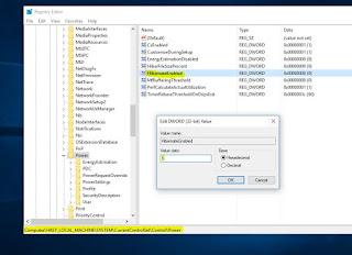 Enable / Disable Hibernate Using Registry Edit