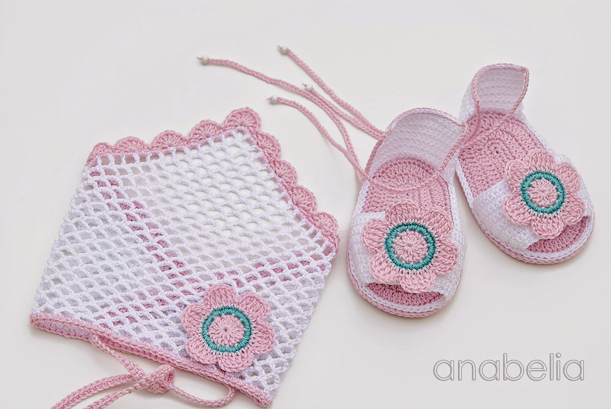 Anabelia craft design: Crochet baby sandals and headscarf