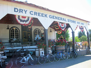 Bicycles lined up in front of the Dry Creek General Store, Healdsburg, California