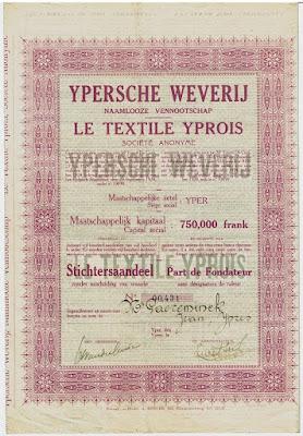 Stichtersaandeel in  Ypersche Weverij - Le Textile Yprois uit Ieper