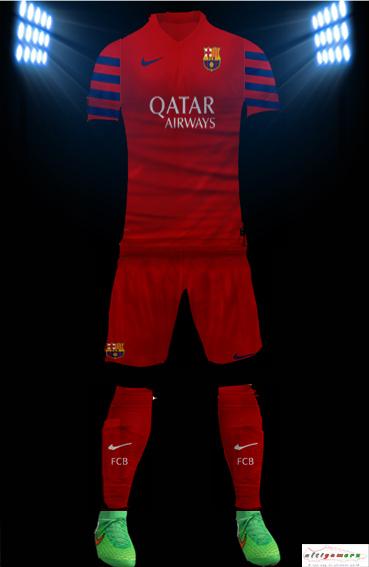 2127b842e25 PES 6 FC Barcelona 2015-16 New Red Fourth GK Kit