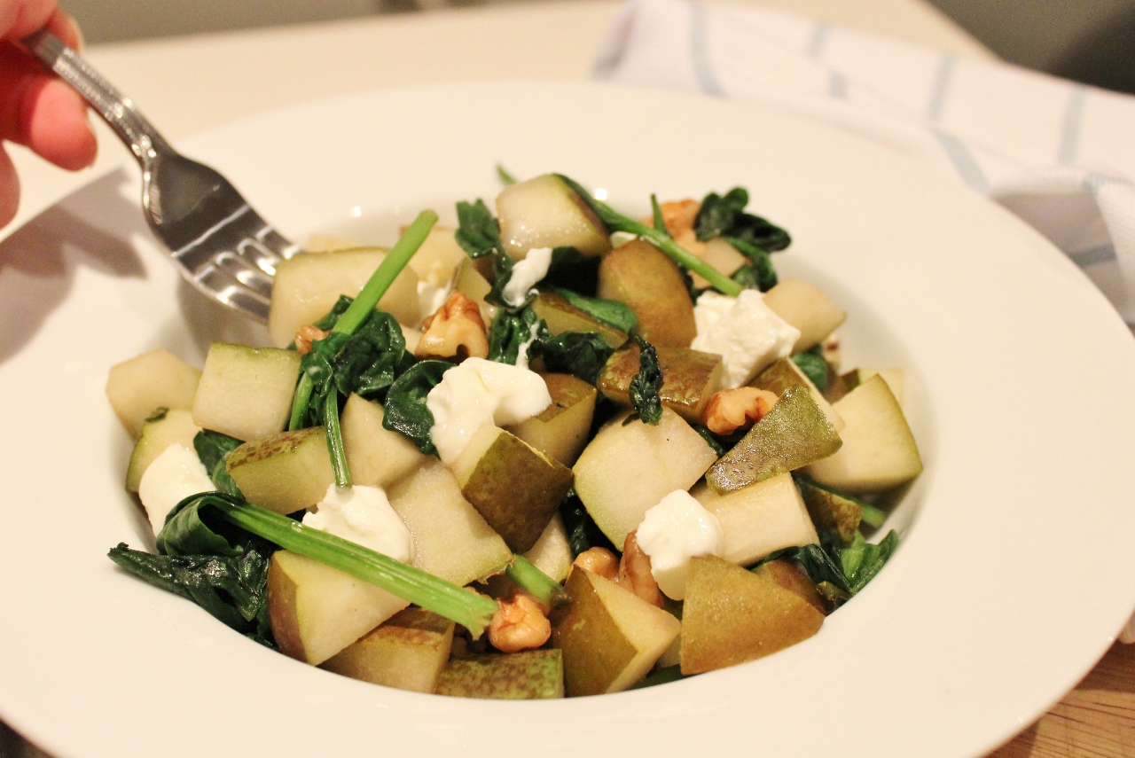 Pear walnut and goats cheese warm salad recipe