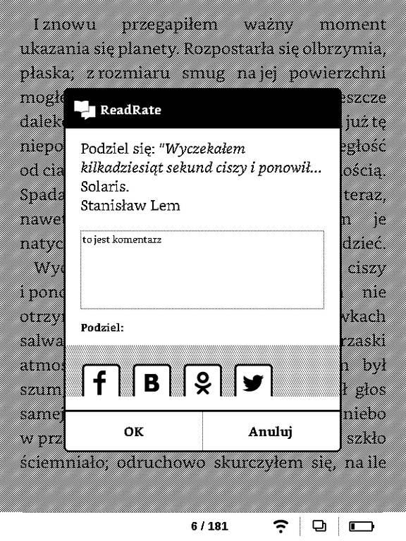 PocketBook Basic Touch 2 Save & Safe – dodawanie cytatu z komentarzem w aplikacji ReadRate