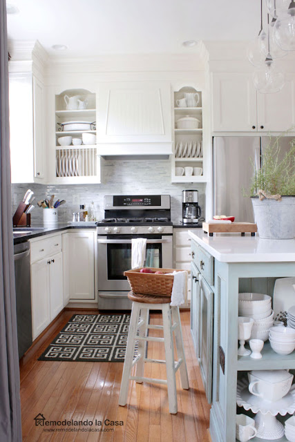 White kitchen makeover with blue duck egg blue island