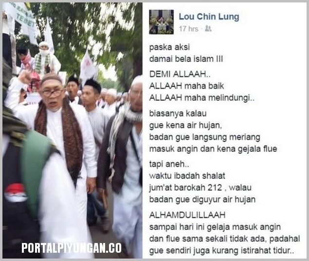 Lou Chin Lung, Muslim Tionghoa Yang Sudah Udzur Ini Merasakan Perlindungan Allah Pada Dirinya Saat Jum'at Barokah 212 : Inilah Kesaksiannya Yang Menakjubkan