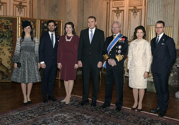 Guðni Jóhannesson and Eliza Jean Reid visit to Sweden. King Gustaf, Queen Silvia, Prince Carl Philip, Princess Sofia and Prince Daniel attended the lunch