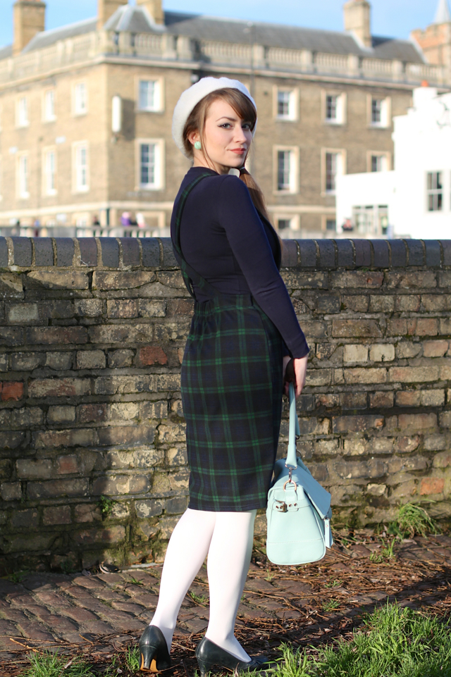 60s mod influenced pinafore dress outfit with white tights