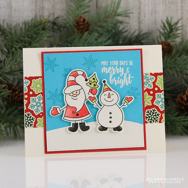 Merry Bright Christmas Card by Juliana Michaels featuring Gina K Designs Home for the Holidays StampTV Kit