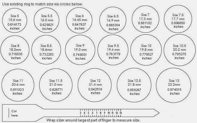 Online Ring Size Chart For Women Ottawa Car