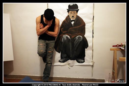 Street art Charlie Chaplin tiré du film la ruée vers l'or à Sedan par Paco