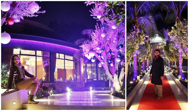 Le Grand Casino de la Mamounia: no lado esquerdo o restaurante; no lado direito uma passarela.