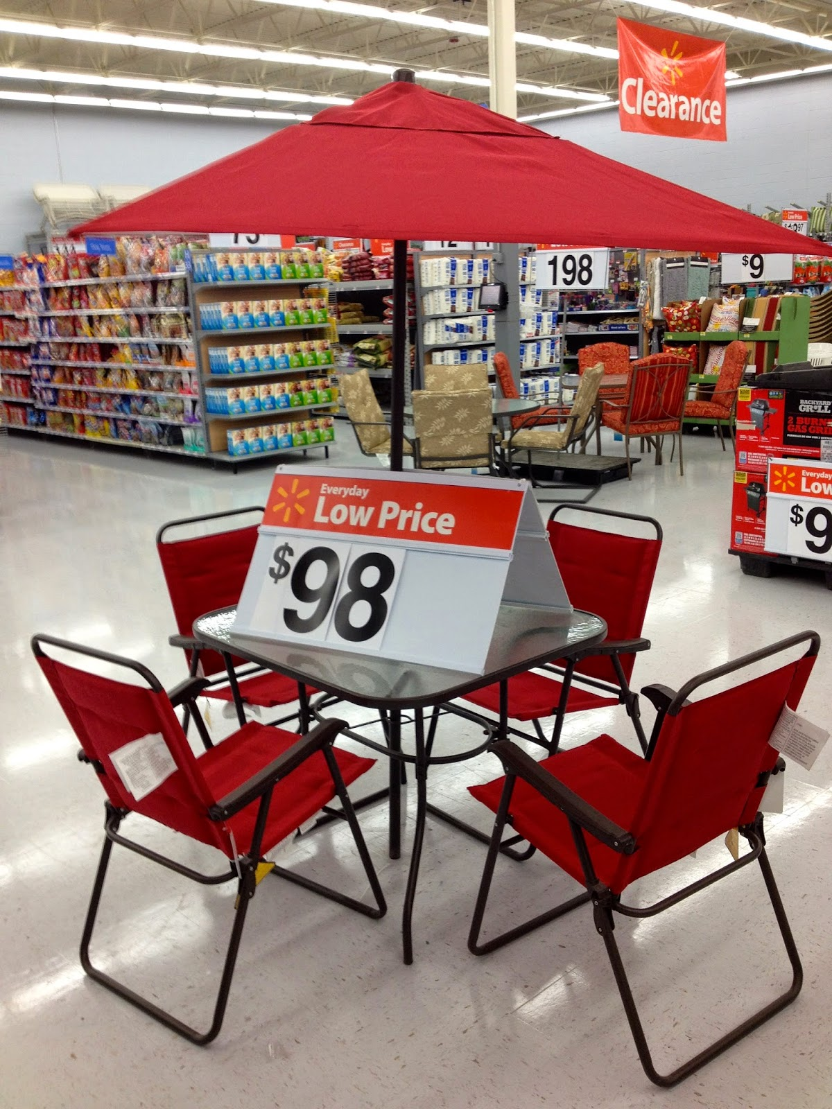red patio set
