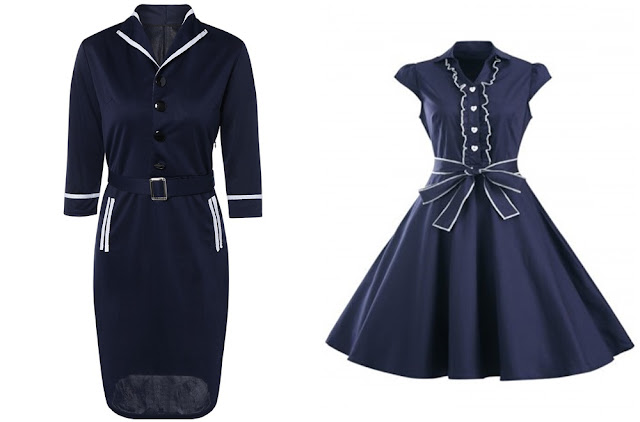 Onde comprar: Retro Long Sleeve Navy Blue Dress (Vestido Navy Retrô)