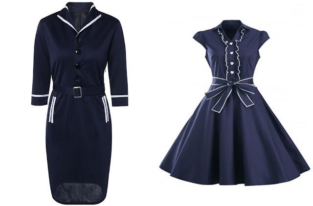 Onde comprar: Retro Long Sleeve Navy Blue Dress (Vestido Navy Retrô)