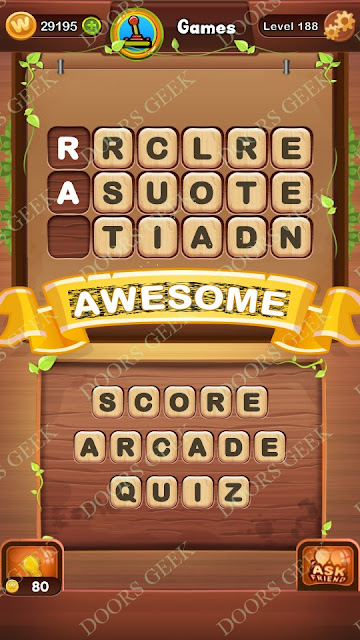 Word Bright Level 188 Answers, Cheats, Solutions, Walkthrough for android, iphone, ipad and ipod