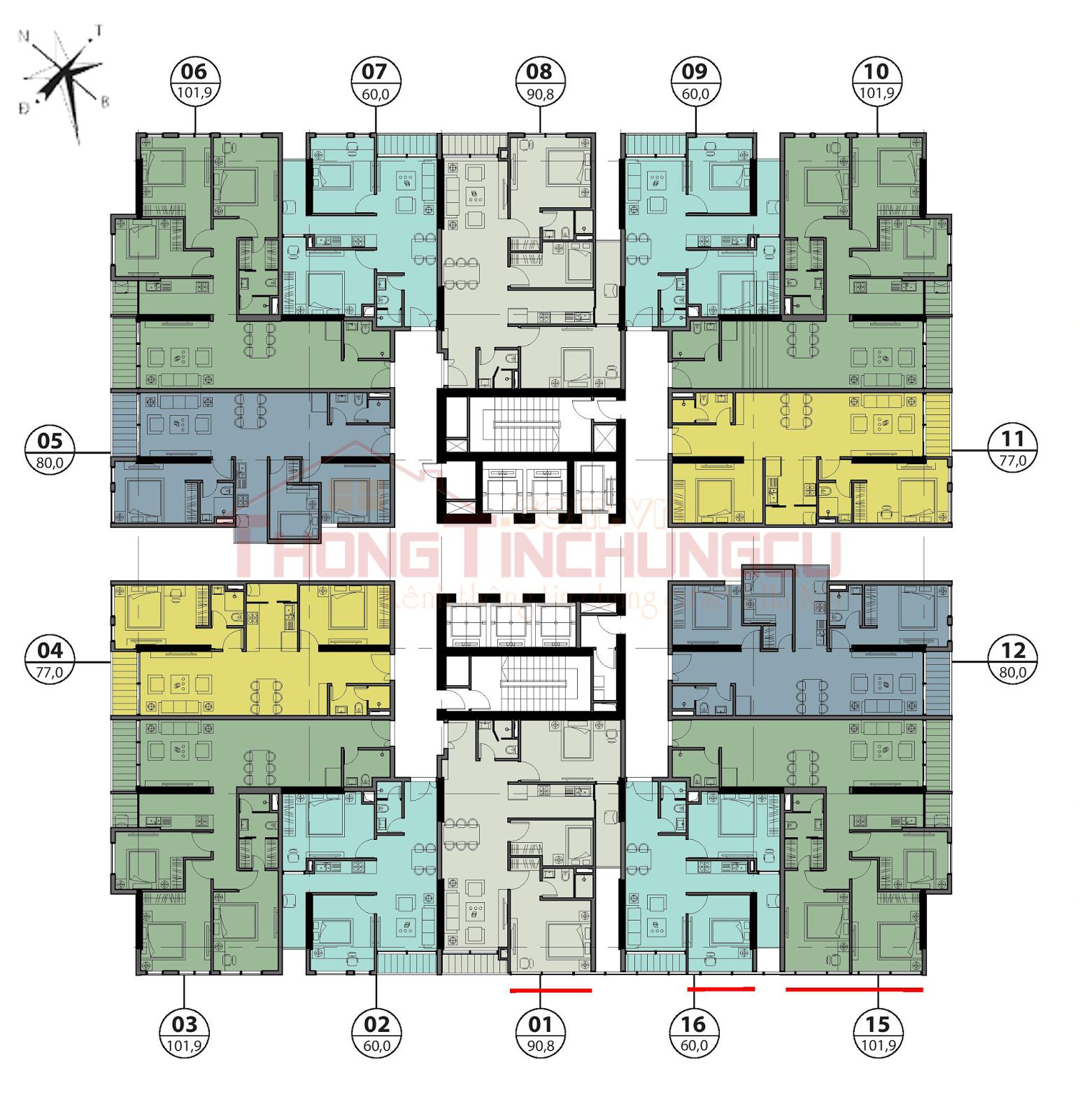 Mặt bằng điển hình tầng 31-33 - Tòa Autumn GoldSeason