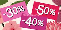 Logo Saldi dal 30 al 50% nei punti vendita o store online L'Occitane