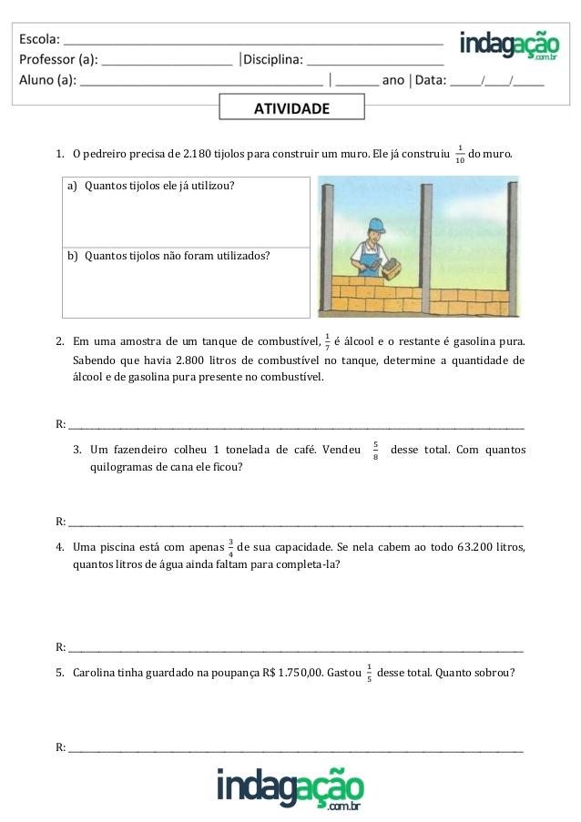 Atividade Matematica 5º Ano Resolver Situacoes Problema Que Envolva Ideia Fracionaria Indagacao