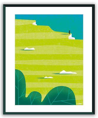 Clod illustration poster seul au bord de la falaise
