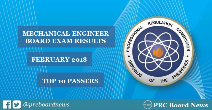 February 2018 Mechanical Engineering ME, CPM board exam top 10 passers