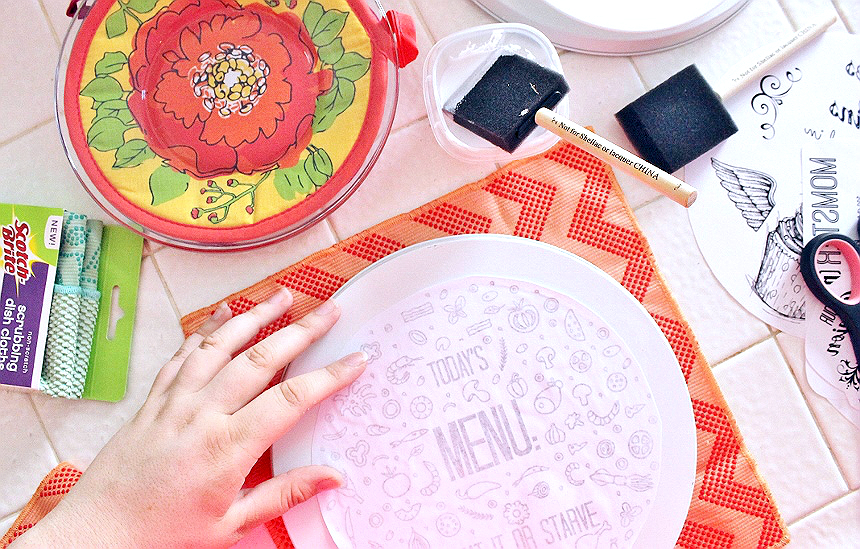 D.I.Y Burner Cover Transfers- How To Transfer Printed Images to Hard Surfaces Tutorial #TeamDishCloth #MySpringClean #AD