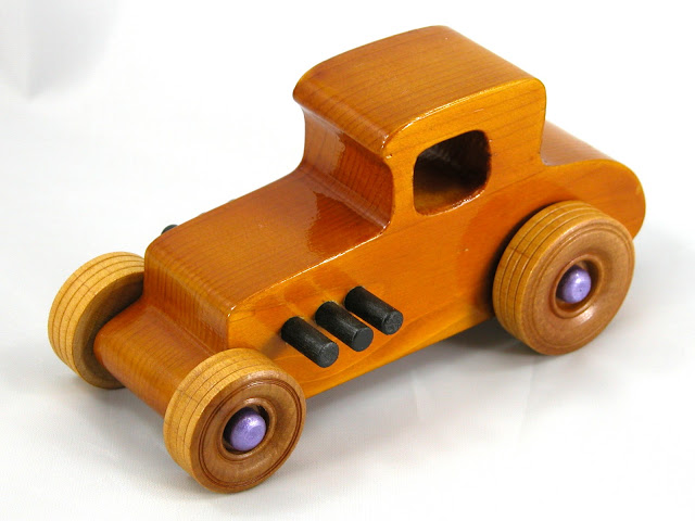 Top Left Front -  Wooden Toy Car - Hot Rod Freaky Ford - 27 Coupe - Pine - Amber Shellac - Metallic Purple Hubs