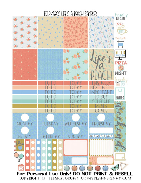 Free Printable Life's A Peach Sampler for the Vertical Erin Condren and Recollections Creative Year Planners from myplannerenvy.com