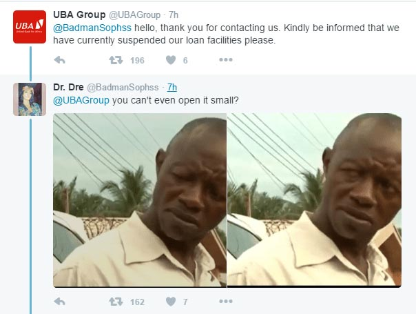 LMAO! Check out this chat between a guy and UBA on Twitter