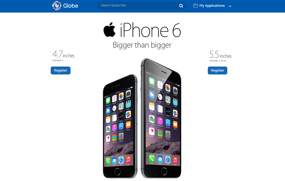 Globe iPhone 6 pre-registration portal