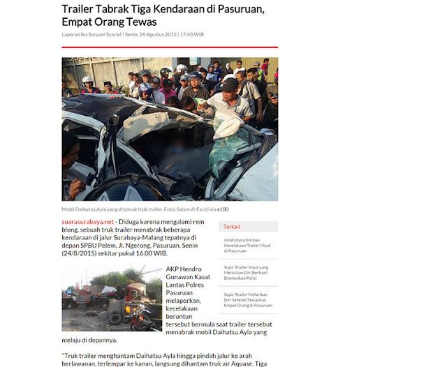 Trailer tabrak tiga kendaraan di pasuruan