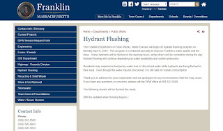Franklin Residents: Hydrant Flushing Begins 4/9/18