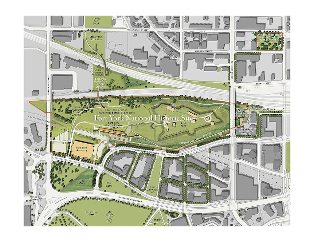 Map: Fort York National Historic Site Rehabilitation—Concept Site Plan, 2012 by DTAH. Rendered by Leonard Wyma of Donderdag