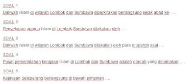 Contoh Soal Kerajaan Lombok dan Sumbawa