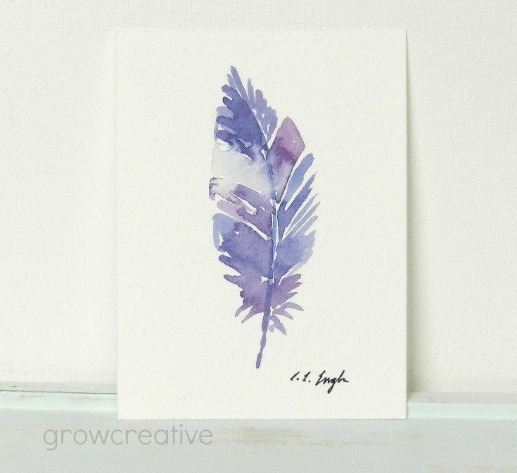 Purple Original Watercolor Feathers Painting: Grow Creative