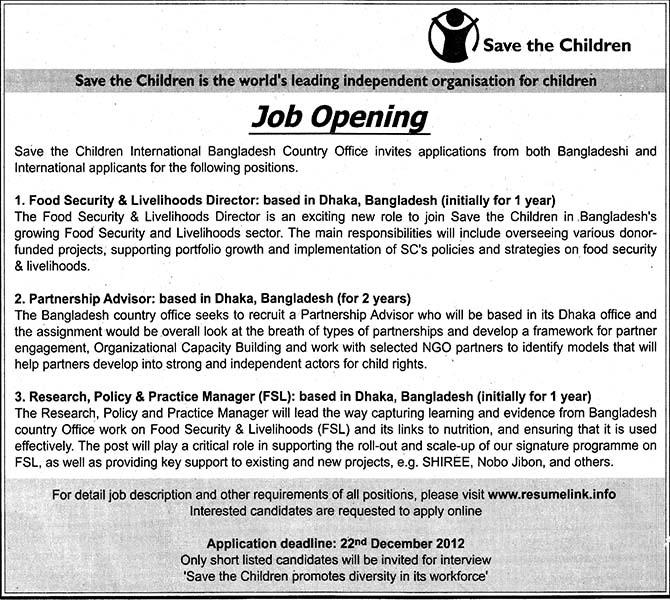 jobs barta save the children jobs circular post food security livelihood director. Black Bedroom Furniture Sets. Home Design Ideas