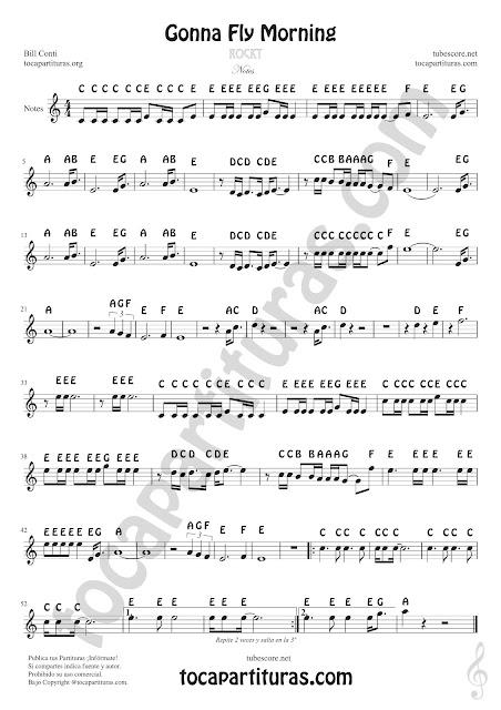 Gonna Fly Now Partitura con Notas en Letra en español Clave de Sol Partituras de Flautas, Saxofón Tenor, Violín, Oboe, Trompeta, Clarinete, Corno Inglés, Corno Francés o Trompa, Saxofón Tenor o Soprano... Rocky