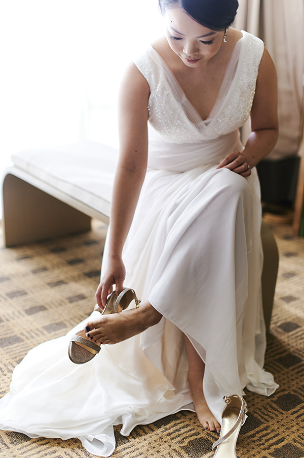 Vancouver beauty, life and style blogger Solo Lisa puts on her Stuart Weitzman wedding shoes.