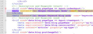 cara mengisi deskripsi pada blog