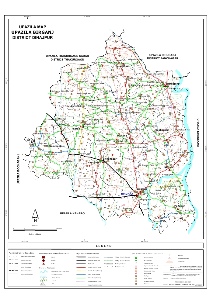 Birganj Upazila Map Dinajpur District Bangladesh
