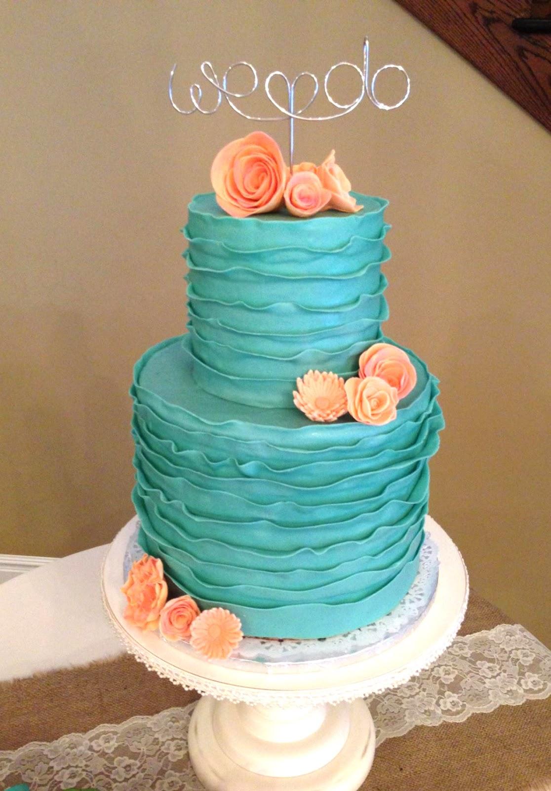 The Cake Market Turquoise Ruffle Wedding Cake