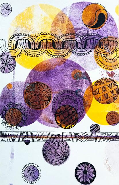 gelli plate pulls in lemon and purple. didn't make mud :) #zebrapen #zebrapenus