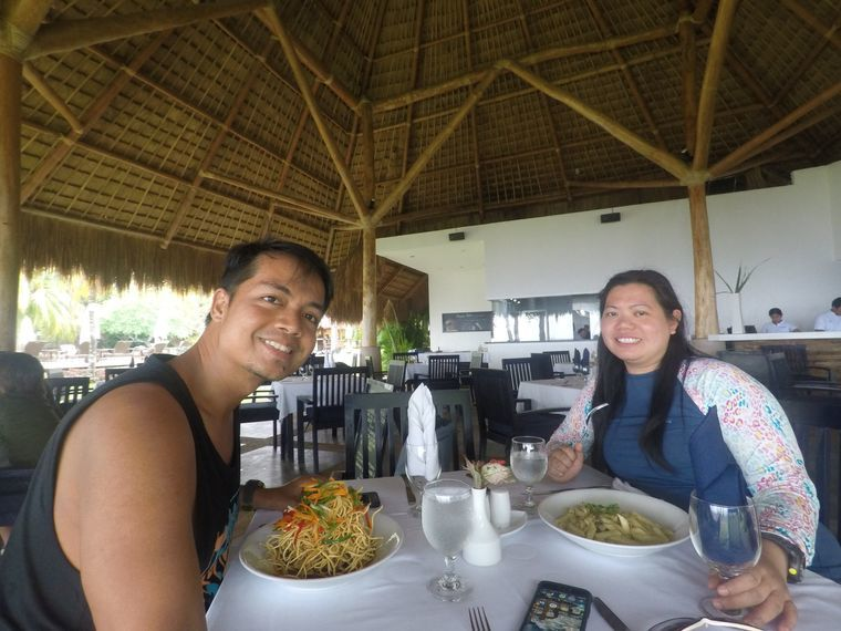 Eating lunch at Breeze Restaurant at Atmosphere Resorts & Spa