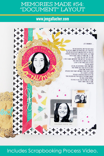 """Document"" Scrapbooking Layout that's all about me. #scrapbooking #memoriesmade #diecutting"
