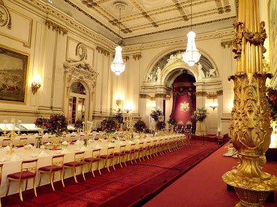 The ballroom set up for a state banquet in a Royal Welcome  2015 exhibition at Buckingham  Palace   Photo © Andrew Knowles